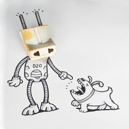 کاریکاتور و تصاویر طنز ترکیبی با اشیا