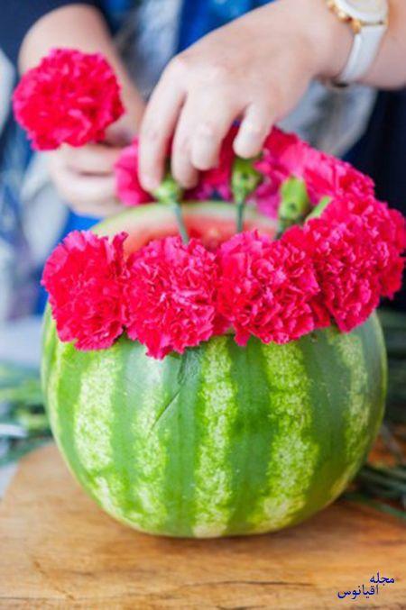 درست کردن گلدان هندوانه ای,ساخت گلدان با هندوانه