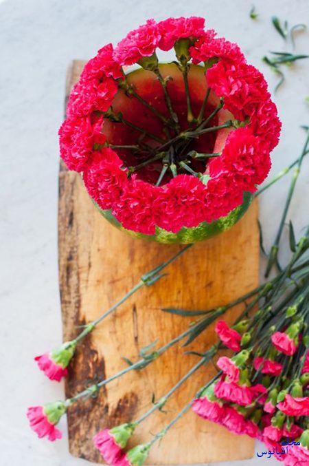 ساخت گلدان هندوانه ای,نحوه درست کردن گلدان هندوانه ای