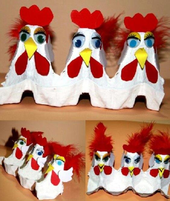 عکس مدل کاردستی خروس با شانه تخم مرغ