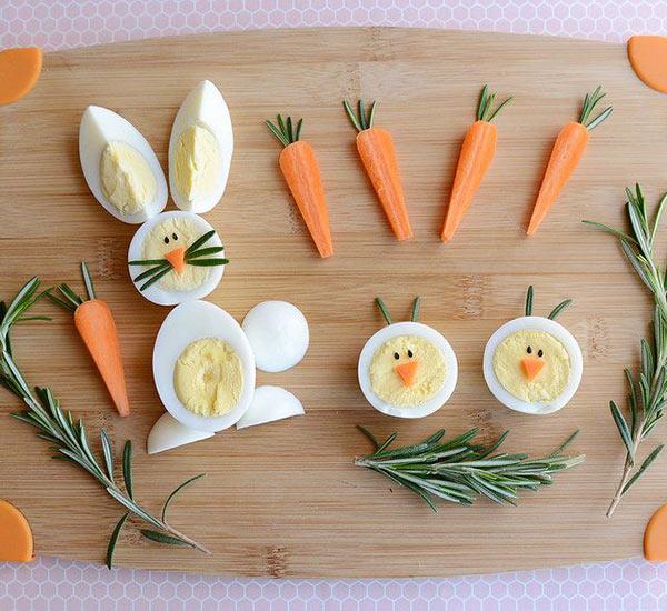 عکس تزیین تخم مرغ پخته با هویج