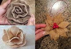 144306 617 - آموزش تصویری ساخت گل با تکه های گونی
