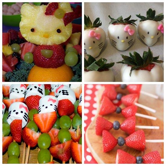 عکس خوراکی های مورد استفاده در تم تولد کیتی