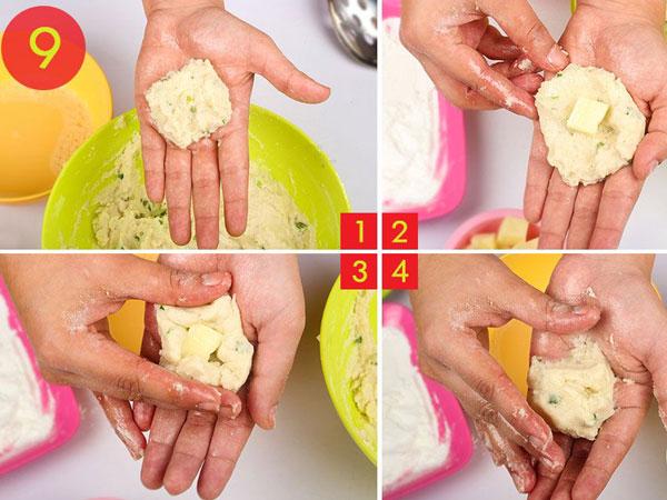 مرحله 9 تهیه توپک پنیری سوخاری