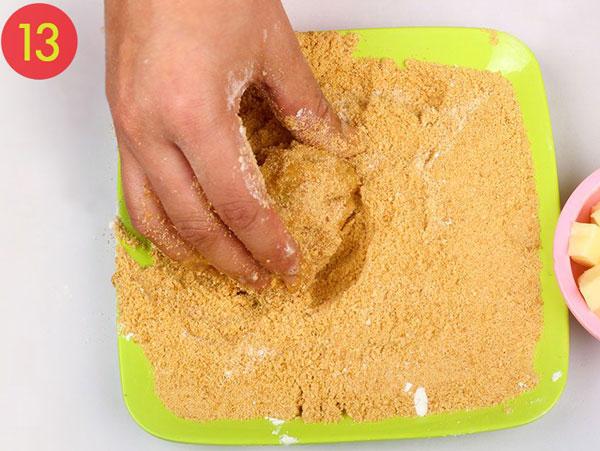 مرحله 13 تهیه توپک پنیری سوخاری