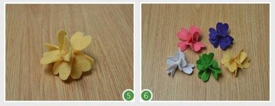 عکس درست کردن تل سر دخترانه با گل نمدی