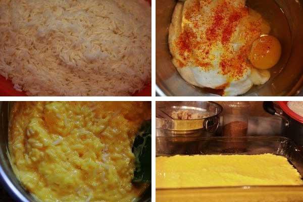 مراحل تهیه مخلوط برنج و ماست و تخم مرغ برای ته چین مرغ