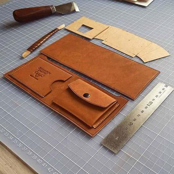 نحوه ساخت کیف پول چرم زنانه با الگو