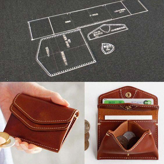 کیف پول چرم زنانه با الگو کوچک