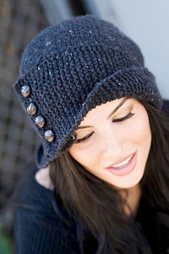 مدل کلاه بافتنی دخترانه لبه برگردان