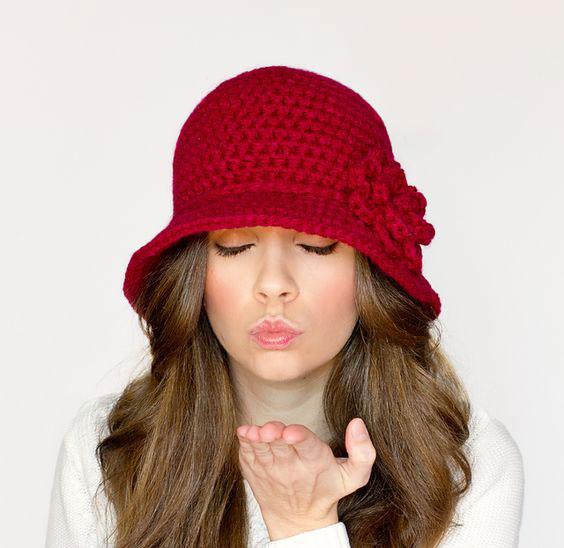 مدل کلاه بافتنی دخترانه لبه دار