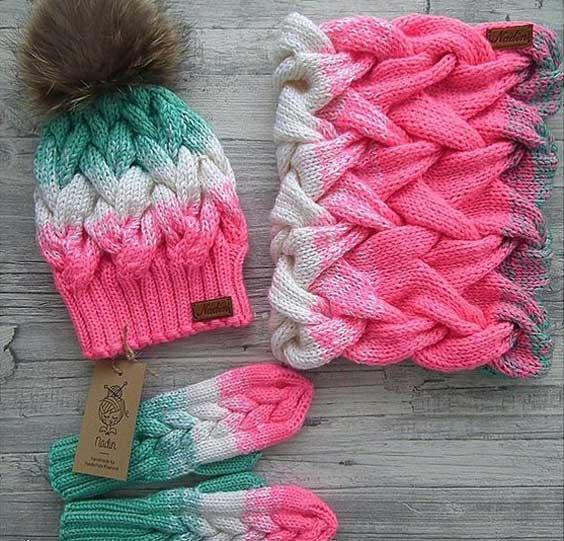 مدل کلاه بافتنی دخترانه مدل کلاه بافتنی دخترانه با دستکش و شال گردن
