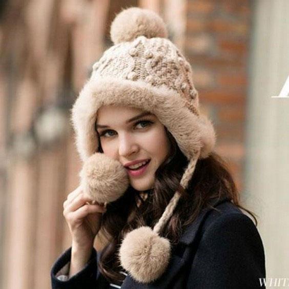 مدل کلاه بافتنی دخترانه  مناسب فرم صورت مربعی