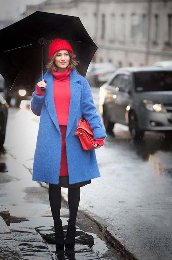 مدل پالتو دخترانه بلند آبی