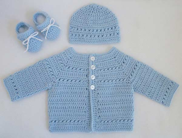 انواع مدلهای لباس بافتنی نوزاد پسر - ست ژاکت و کلاه و پاپوش