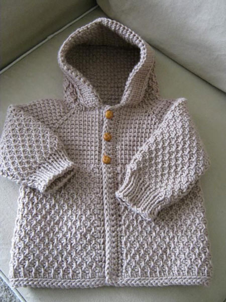 انواع مدلهای لباس بافتنی نوزاد پسر - ژاکت کلاه دار آستین کشباف