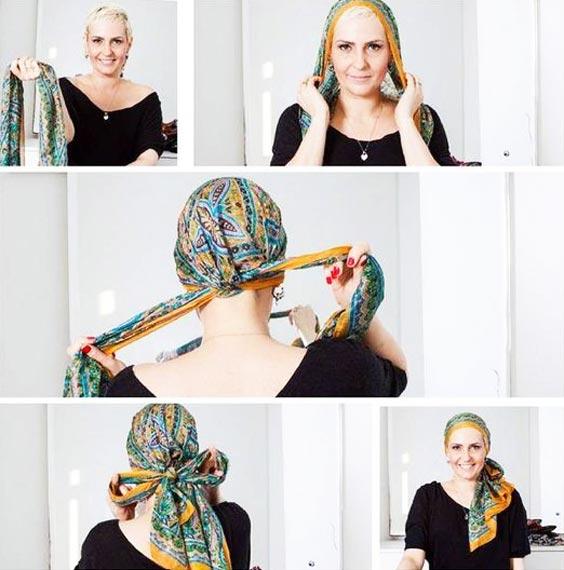 آموزش بستن توربان با  شال و روسری