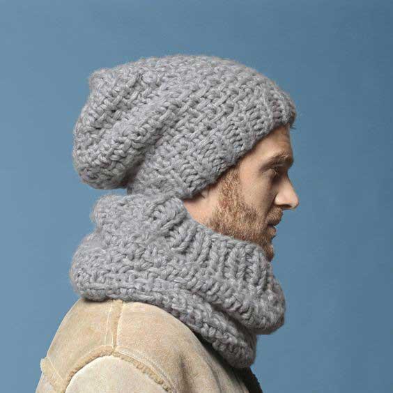 شال و کلاه مردانه بافت درشت