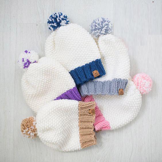 عکس بافت کلاه ساده با میل مدل دانه برفی