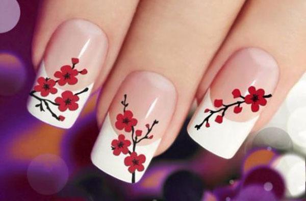 مدل فرنچ ناخن گلدار