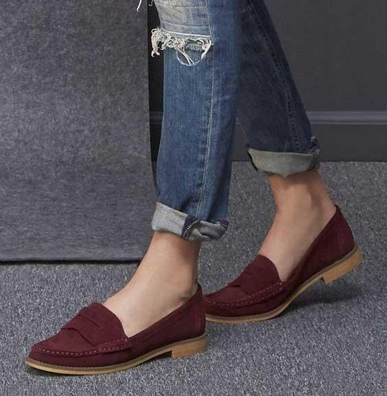 مدل کفش کالج زنانه اسپرت - زرشکی - جیر