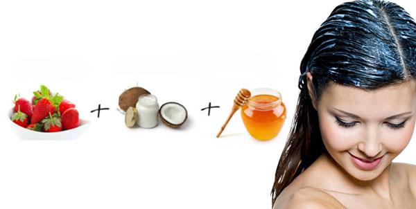 ماسک مو برای موهای چرب با توت فرنگی، روغن نارگیل و عسل