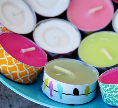 making2 candles2 candlestick4 - درست کردن شمع با مدادشمعی و پارافین