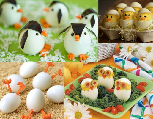 عکس تزیین تخم مرغ پخته به شکل پرنده