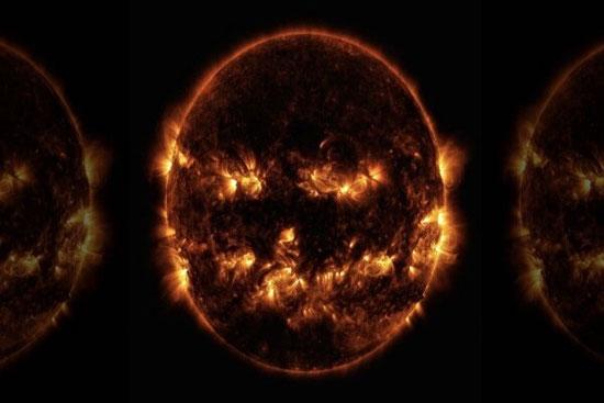 2193761 304 - تصویر ترسناک از خورشید به شگل صورتک کدوحلوایی
